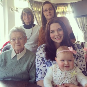Five generations! Me with my Great Nan, Nan, Mum and daughter.
